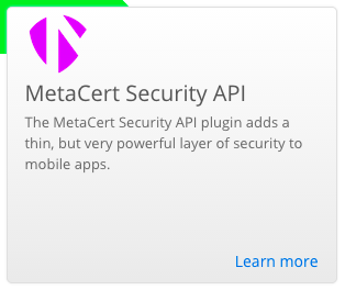 Panel from Appery.io website for MetaCert plug-in
