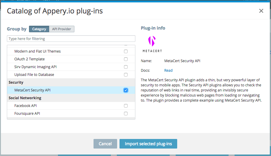 Plug-in catalog showing the MetaCert plug-in