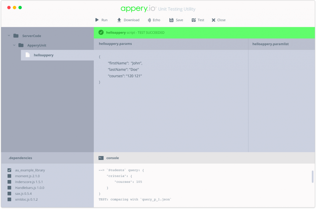 Appery.io GUI for testing Server Code scripts