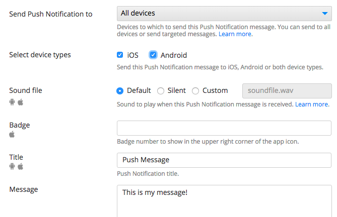 Push Notifications console